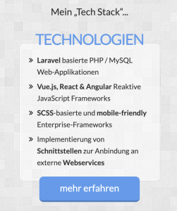Webentwickler – Tech Stack